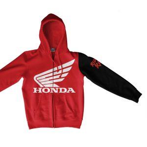 Honda Ride Red Zip Hoodie Red
