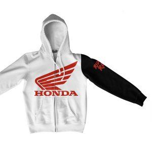 Honda Ride Red Zip Hoodie White